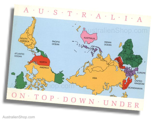 Map Of Australia Upside Down.Postkarte Australia Upside Down World Map Down Under Shop