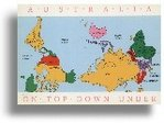 Postkarte - Australia - Upside Down - World Map