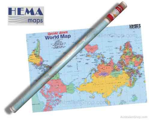 Wandkarte - Australia - Upside Down - World Map - Down Under Shop