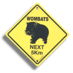 "Roadsign ""Wombats"" small"