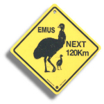 "Roadsign ""Emus"" medium"